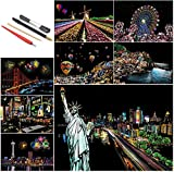 SiYear Scratch Paper Rainbow Painting Sketch, City Series Night Scene, Scratch Painting Cr...