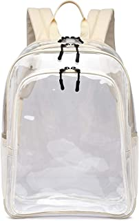 Large Clear School Backpack - Triple Compartment - Leather Adjustable Straps - Heavy Duty - Security Approved
