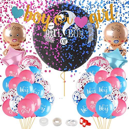 Herefun Gender Reveal Party Dekoration Kit, Babyparty Geschlecht Offenbaren Ballons Set, Babyshower Gender Reveal Party-Set Deko Supplies, Baby Deko Junge Mädchen Partyausrüstung Luftballons Banner