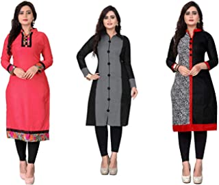 Dharmi Trendz Women's Pack of 3 A-Line Cotton Semi-Stitched Kurti Material (BC102425) Pink