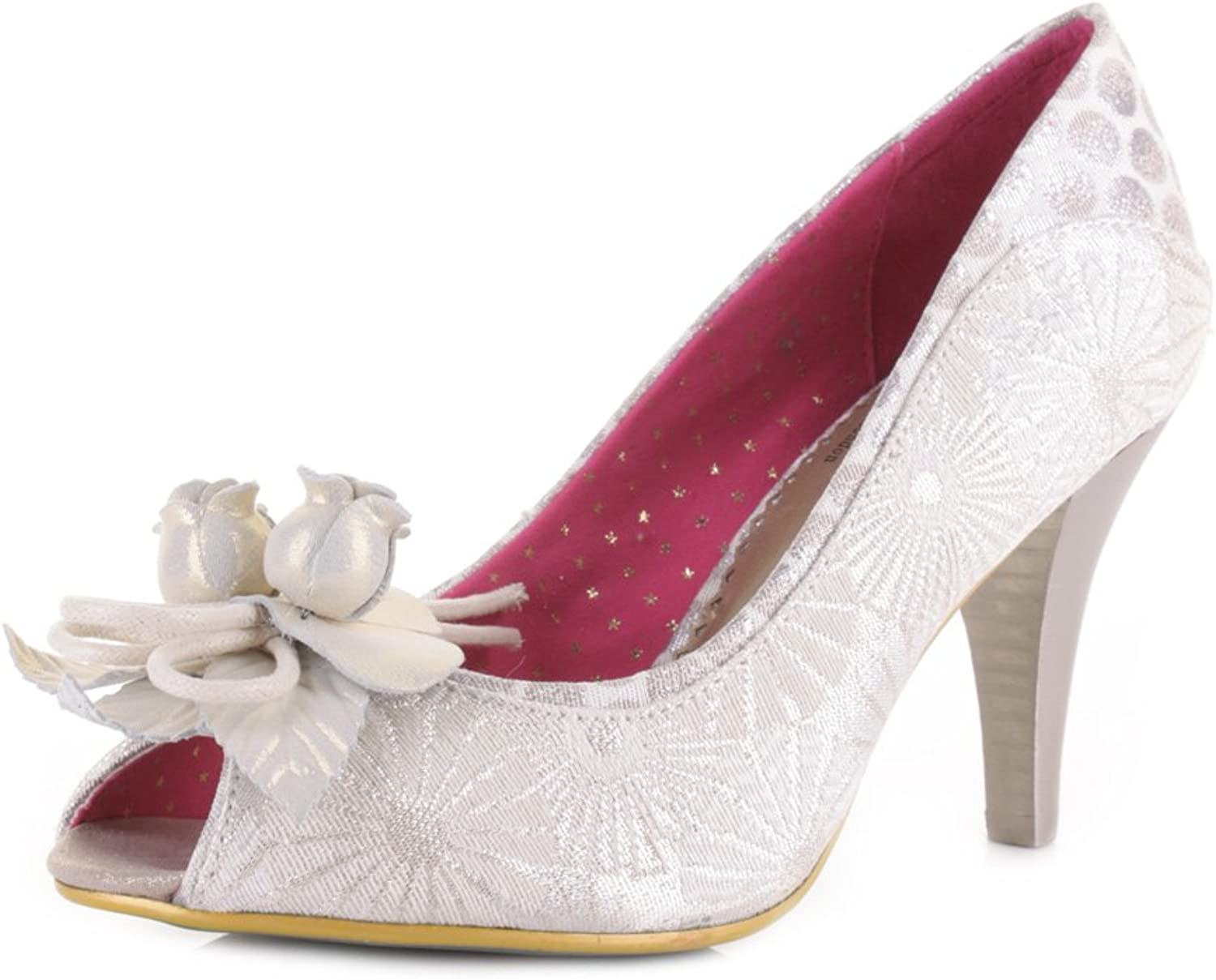 Poetic Licence Womens Concha Beach Off White Peep Toe Court shoes Heels Size