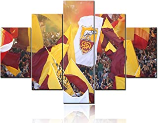 Sports Room Decor Associazione Sportiva Roma Pictures I Giallorossi Paintings The Yellow and Reds Wall Art 5 Pcs/Multi Panel Canvas Artwork for Living Room Framed Posters and Prints(60''Wx40''H)
