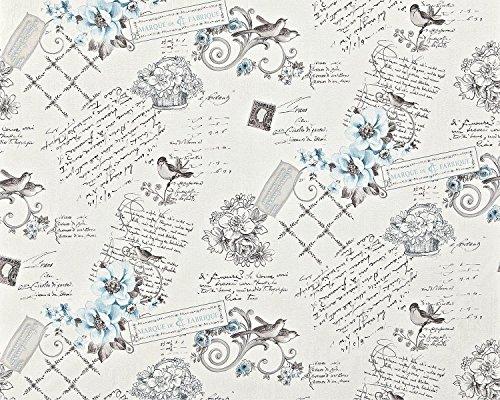 Landhuis vlies behang XXL EDEM 904-17 snelbehang romantisch textiel look bloemen vogels blauw lichtblauw wit zwart grijs 10,65 m2
