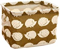 ZT TRADE 2 Pcs Portable Collapsible Clothing Storage Basket Barrels Cotton Linen Laundry Bucket with Handle Drawstring Round Storage Pouch Clothes Holder Box?Hedgehog?