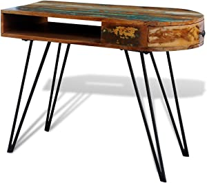 Anself - Escritorio hecho a mano con cajón de madera maciza,piernas de hierro,estilo vintage (97x45x76 cm)