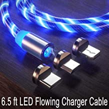 LED Flowing Magnetic Charger Cable Light Up Candy Moving Shining Charger Phone Charging Cable Magnetic Streamer Absorption USB Snap Quick Connect (1x6.5ft Blue LED Cable + 3 Magnetic Plugs)