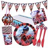 Yisscen Lot de 82 accessoires de fête pour fille Miraculous Ladybug - Décoration pour anniversaire d'enfant, baptême de bébé, barbecue, décoration de table - Pour 10 enfants