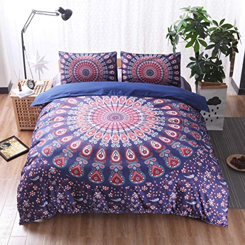 NEWAT Bohemian Mandala Double Covers for the Bed Duvet Set, Egyptian Hippie Gypsy Nirvana Yoga Indian Home Bedding Duvet Cover Set with Pillowcases (A3,230x 260 cm)