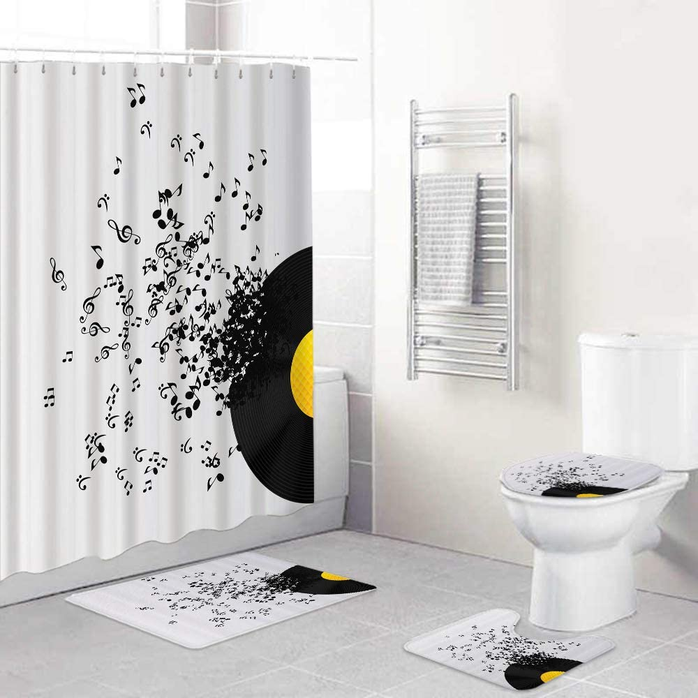 FOURFOOL 55% OFF 4pcs Shower Curtain Sets Lid Cover price Rugs Non-Slip Toilet