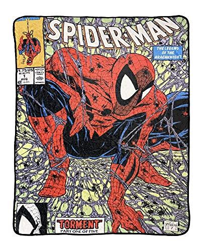 Marvel Manta de forro polar con licencia oficial de Spider-Man de los 90