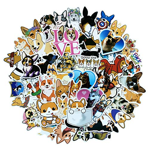 50 PCS Cute Welsh Corgi Waterproof Stickers Set for Decorating-for WaterBottles Skateboard Laptop Suitcases Decoration (Welsh Corgi)