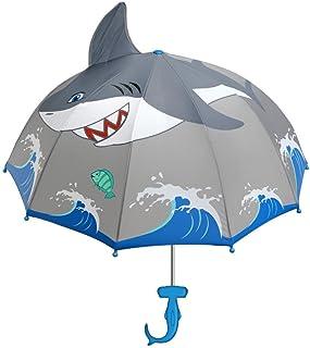 Kidorable Shark Grey Umbrella for Boys w/Fun Hammerhead Handle, Pop-Up Fin, Ocean Trim