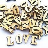 Leisial - 100 piezas de madera tipo Scrabble, letras del alfabeto, números de letras para manualidades, bisutería, manualidades, decoración, exhibiciones, madera, Letras, 1.5cm
