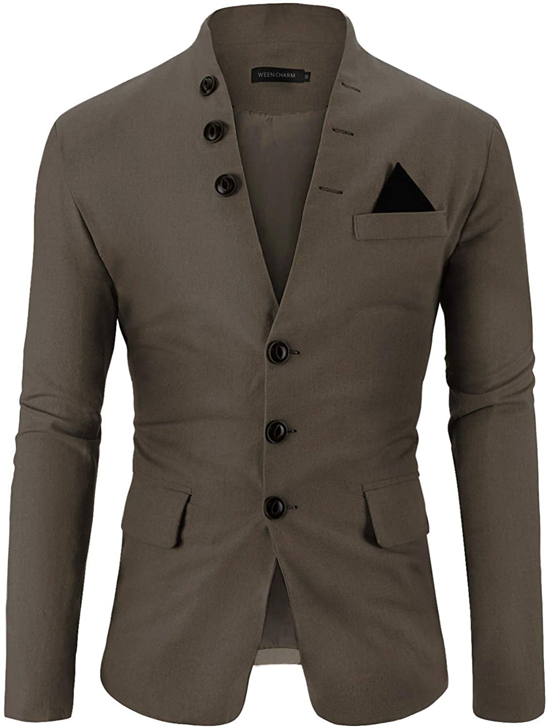 WEEN CHARM Mens Casual Slim Fit Standing Collar Blazer 3 Button Suit Sport Jackets (Khaki, 3X-Large)