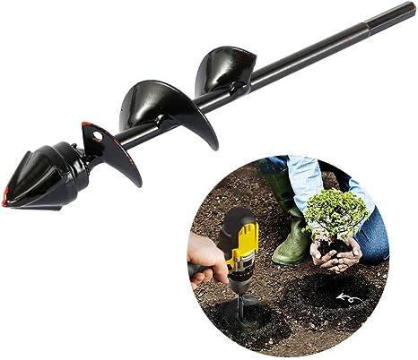 Punta da trivella per semina a terra per piantagione scavatrice per buche da giardino con guida esagonale antiscivolo strumento per fioriera rapido a spirale per piantine di bulbi da fiore 4*40CM