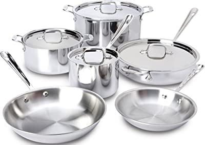 All-Clad 401877R Stainless Steel 3-Ply Bonded Dishwasher Safe Cookware Set, 10
