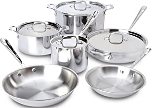 All-Clad 401877R Stainless Steel 3-Ply Bonded Dishwasher Safe Cookware Set, 10-Piece, Silver - 8400000960