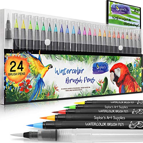 Sophie's Art Supplies Watercolor Brush Pens. Paint Markers with Flexible Real Brush Tips for Watercolor Effects, Coloring, Drawing, Calligraphy. Portable painting [ 24 pack Watercolor Pens +1 ]