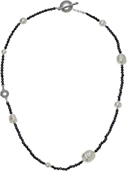 Majorica 6mm,8mm,10mm and 12mm Round and Baroque Pearls Hematite Necklace with Sterling Silver Toggle Closure
