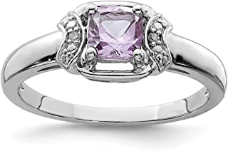ICE CARATS 925 Sterling Silver Diamond Pink Quartz Band Ring Size 9.00 Gemstone Fine Jewelry Ideal Gifts For Women Gift Se...