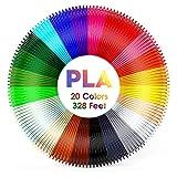 eSUN 20 Colori 3D Penna Filamento Ricarica PLA 1.75mm 16.4 Piedi per Colore Totale 328 Piedi per la Maggior Parte della Penna 3D a Alta Temperatura per la Stampa 3D Hobby Creativi 3D Stampante