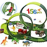 kindersee 156pcs Race Tracks for Boys 360° Route Dinosaur Tracks, Flexible Race Car Track Create A Road Dinosaur Toys for 3 4 5 6 7 8 Years Old Boys and Girls, 6 Dinosaurs