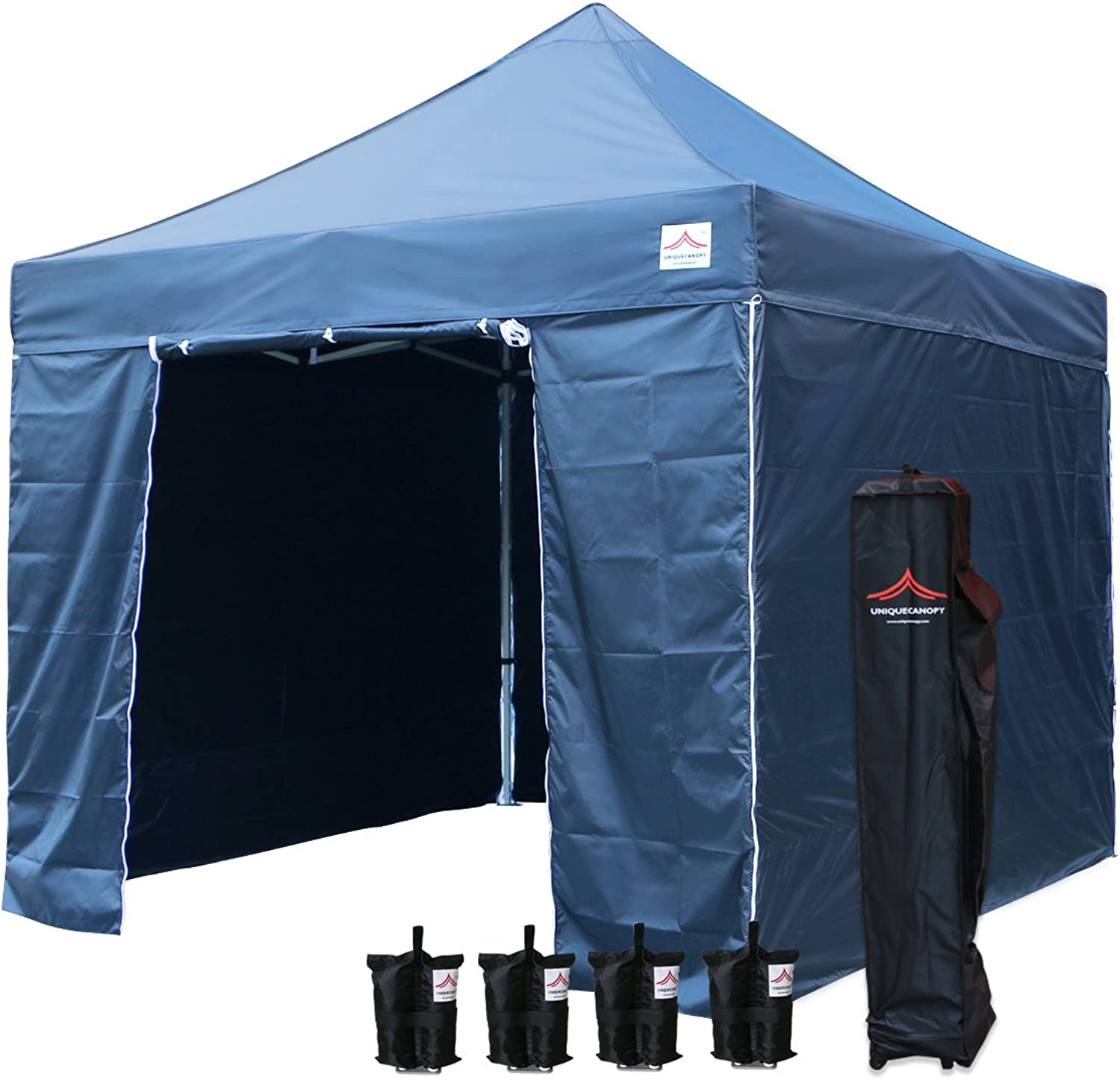 UNIQUECANOPY Enhanced 10x10 Ez Pop up Canopy Instant Tent Outdoor Party Portable Folded Commercial shelter, with 4 x Side Walls, Wheeled Carrying Bag and Bonus 4 x Sand Bags Navy blueee