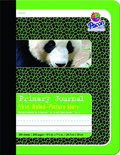 Pacon Primary Composition Book Bound Picture Story Ruled, 5/8-in. Ruled, 100 Sheets, Green (2428)