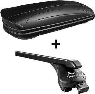 VDP Dachbox schwarz matt MAA320M günstiger Auto Dachkoffer 320 Liter abschließbar + Relingträger Dachgepäckträger offene Reling im Set kompatibel mit VW Golf Sportsvan ab 2014