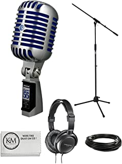Shure Super 55 Deluxe Vocal Microphone Bundle with Boom Stand, Headphones, XLR Cable, and Austin Bazaar Polishing Cloth