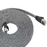 LanYunUmi Cat7 Ethernet Cable Nylon Braided Cat 7 Internet Cable Cable RJ45 Network Cable Cat7 LAN Cable for PC Mac Router Laptop LAN Cable for PC Laptop Modem Router Cable Ethernet (cat7, 50ft/15m)