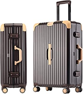 SMLCTY Hand Luggage Suitcases,ABS+PC Frame Waterproof Large Capacity Silent 4 Wheel Universal Wheel Trolley Case Password Boarding (Color : Brown, Size : 20 inch)