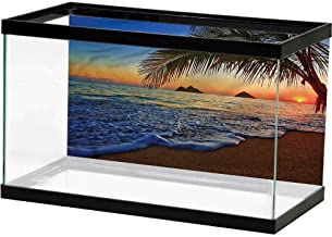 Underwater World Backdrop Hawaiian,Natural Beach and Sunset Decorate Fish Tank