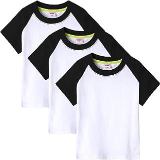 Lanbaosi Kids Boys Girls Colorblock Short Sleeve T Shirt Summer Round Neck Casual Tee Top Pack of 3