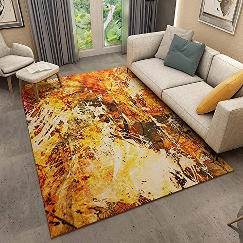 Alfombra Pelo Corto Moderna Interior al Aire Libre Lavable Antideslizante Graffiti Simple Degradado Amarillo Dorado 120x160CM(4'0''x5'2'')