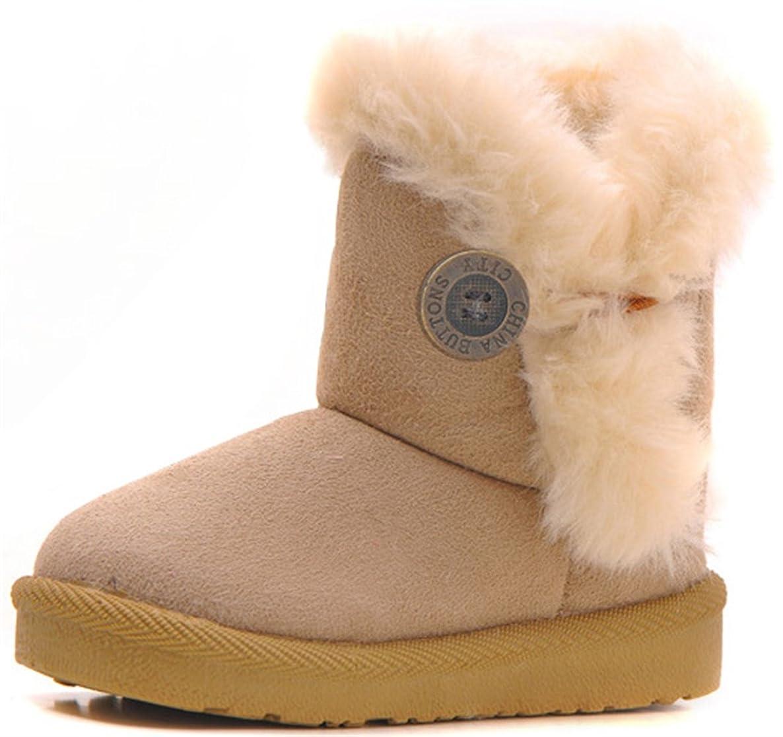 DADAWEN Baby's Girl's Boy's Cute Flat Shoes Bailey Button Winter Warm Snow Boots