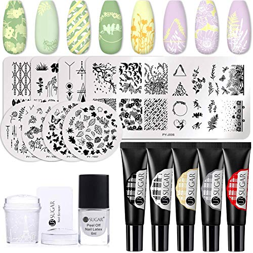 UR SUGAR Gel Nail Stamping Kit 8Pcs Image Templates Stamping Plates Flowers Leaves Butterfly Stamping Gel 5 Colors Nail Polish Peel Off Latex Nail Art Stamper All in One Kit for Starter Manicure Set