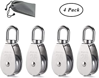 Paquete de 4 poleas de bloque de polea SUNSHINETEK Rueda de polea simple de 25 mm Plata 304 Rodillo de polea de acero inoxidable M25 Carga segura 150kgs / 331lbs