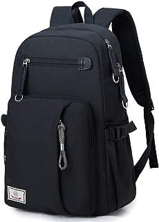 Mioy Hombre Slim Mochila de Ordenador Portátil de Negocios Canvas Gran Capacidad Mochila Escolar de Impermeable Laptop Mochila para 15,6'' Multifuncional Mochila Universitaria Casual Daypacks (Negro)