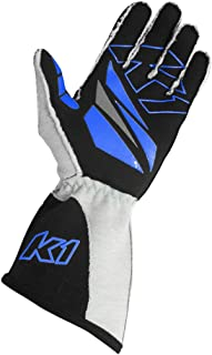 K1 Race Gear GT-1 SFI Auto Racing Gloves (Black/Blue/Grey, X-Large)