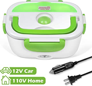 Electric Lunch Box Portable Food Warmer Heater for Car and Home 110V & 12V with1.5L Removable Easy to Clean Stainless Steel Container and Small Plastic Box for Fruit/Vegetable