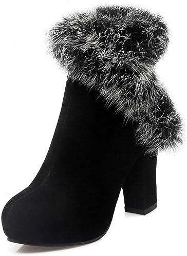 SERAPH 18-5 Stiefel de tobillo de piel sintética para damen Stiefel de fiesta de Silberforma con tacón alto ancho