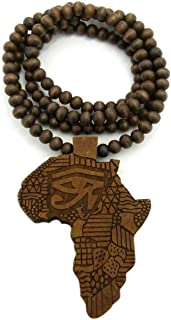 Mens Africa MAP Wood Horus Eye African Continent Egyptian Symbol Wooden Bead Chain Necklace