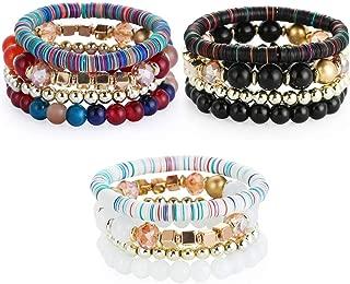 Boho Beaded Bracelets for Women - Charm Stackable Multilayer Bracelets Gift for Women Girls Men