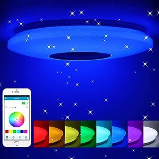 Lámpara de techo LED musical con altavoz Bluetooth, lámpara de techo regulable con cambio de color RGB con control remoto y aplicación, 36 W para dormitorio, cocina, habitación infantil, sala de estar