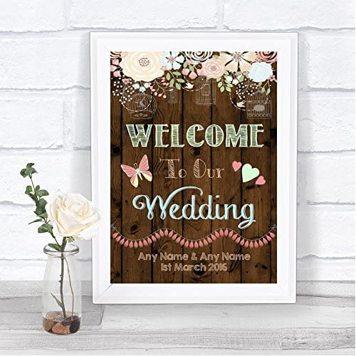 Floral Purple and Brown Wedding Sign Personalized Welcome to Our Wedding Poster