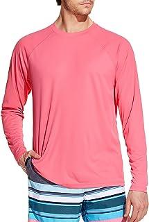 TSLA Men's Rashguard Swim Shirts, UPF 50+ Loose-Fit Long Sleeve Shirts, Cool Running Workout SPF/UV Tee Shirts