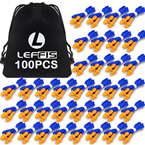 100 Pairs Ear Plugs for Sleeping, Reusable Silicone Earplugs Sound Blocking, Individually Wrapped Earplugs Ear Protection for Shooting