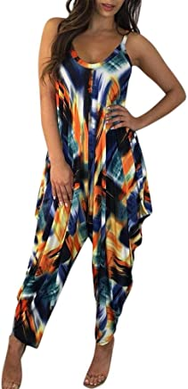 bfb1861eb9d RAISINGTOP Women Summer Backless Sleeveless Romper Pants Ruffle Colorful  Printed Loose Playsuit Beach Jumpsuit Harem