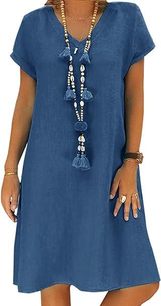 Yidarton Sommerkleid Leinen Kleider Damen V Ausschnitt Strandkleider Einfarbig A Linie Kleid Boho Knielang Kleid Ohne Zubehor Amazon De Bekleidung